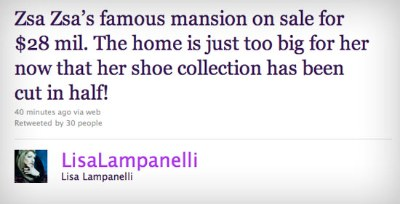 Lisa Lampanelli Goes After Zsa Zsa Gabor On Twitter