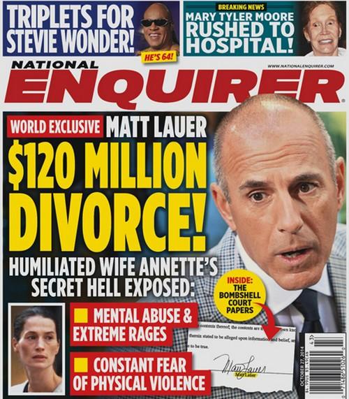 "Matt Lauer and Annette Roque $120 Million Divorce - ""Extreme Distess, Unfounded Accusations"" (PHOTO)"