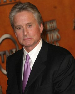 Michael Douglas Chats On The Phone in New York