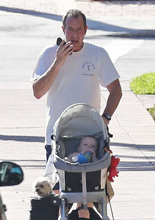 Exclusive... Michael Lohan Takes His Son For A Stroll