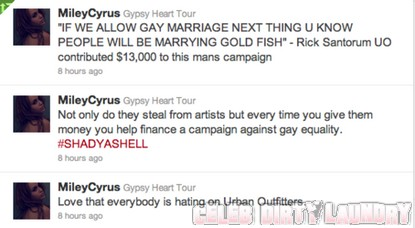 Miley Cyrus Slams Urban Outfitters & Rick Santorum
