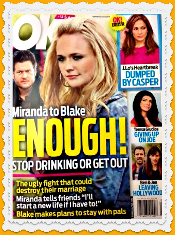 Miranda Lambert Threatens To Separate From Blake Shelton: Stop Drinking or Move Out (PHOTO)