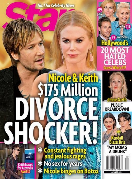 Nicole Kidman and Keith Urban Divorce Shocker: No Sex For Years - Botox Binges - Constant Fighting - Report (PHOTO)