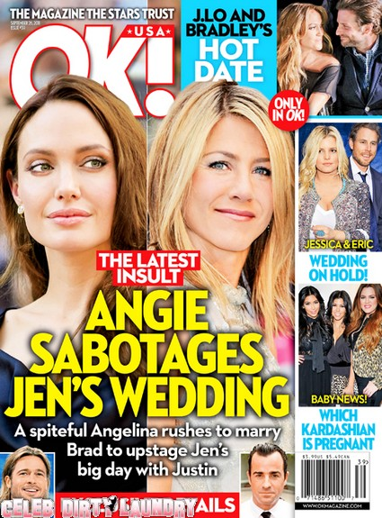 OK! Magazine: Angelina Jolie Sabotages Jennifer Aniston's Wedding