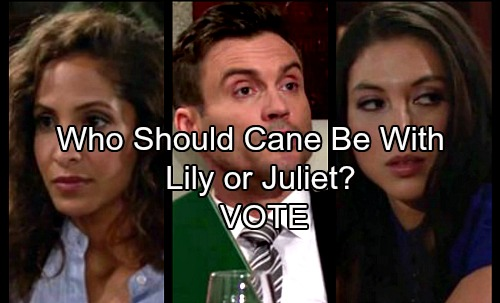 The Young and the Restless Spoilers: Cane Lost and Alone – Who Should He Be With – Lily or Juliet?