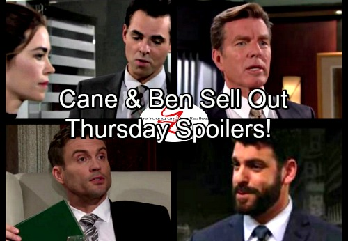 The Young and the Restless Spoilers: Thursday, August 17 - Cane Gives Ben Dirt For Jack - Lowlifes Destroy Billy and Victoria