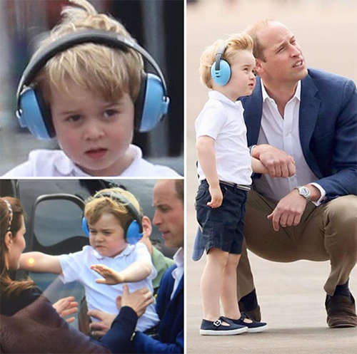 Prince George joins dad Prince William to check out airplanes