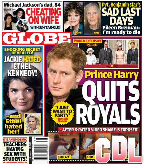 GLOBE: Prince Harry Quits The Royals: Tells Queen Elizabeth 'I Just Want to Party'