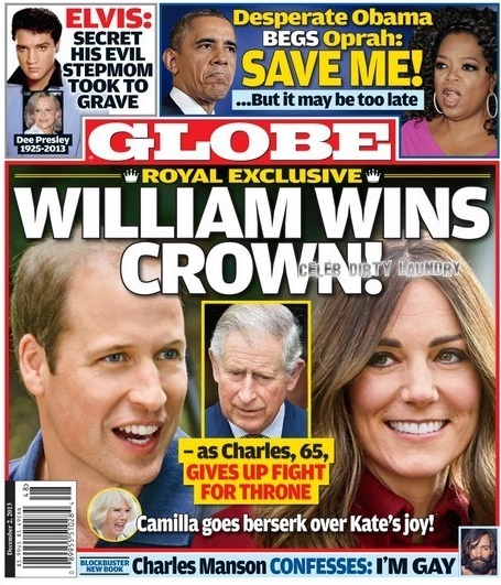GLOBE: Prince William Wins The Crown as Prince Charles Steps Aside For Son and Kate Middleton - Camilla Parker-Bowles Goes Bersek! (PHOTO)