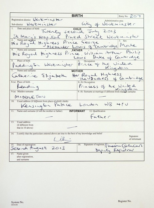 "Kate Middleton Describes Her Job as ""Princess of the United Kingdom"" on Prince George's Birth Certificate"