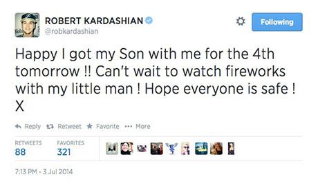 Rob Kardashian Confirms Son on Twitter in Fourth Of July Celebration Tweet - Kris Jenner Furious!