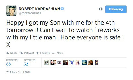 Rob Kardashian Confirms Son on Twitter in Fourth Of July Celebration Tweet - Kris Jenner Furious!