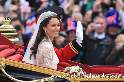 Prince William and His Bride Kate Middleton Riding In A Carriage To Buckingham Palace - Photos