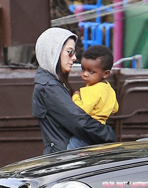 Sandra Bullock Picks Up Son Louis From School