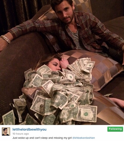 Khloe Kardashian and Scott Disick Post Tasteless Stripper Pic Covered With Dollar Bills Instagram Photo
