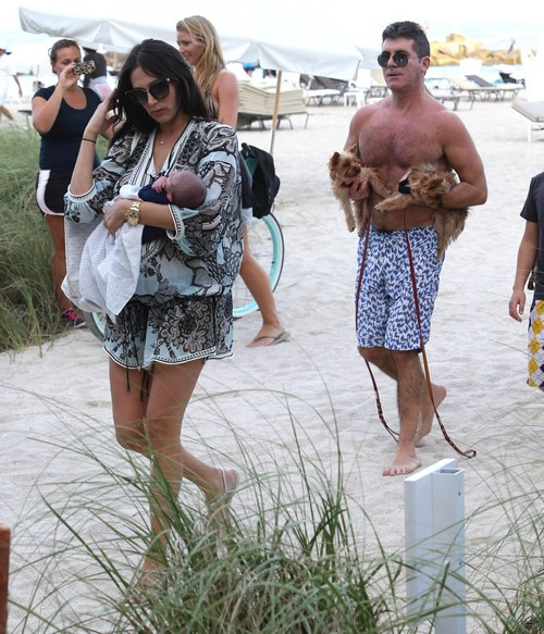 Simon Cowell And Lauren Silverman Show Off Baby Eric and Each Other In Pap Photos On Beach