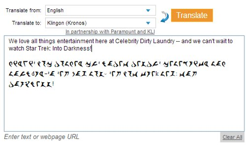 Bing Adds Klingon to 'Bing Translator' in Celebration of 'Star Trek: Into Darkness'!
