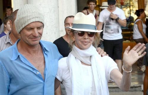Jennifer Aniston MIA While Justin Theroux Kisses Sting's Wife, Trudie Styler