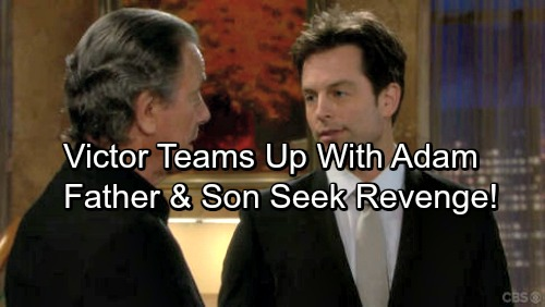 The Young and the Restless Spoilers: Adam Newman Returns to Team Up with Victor - Father and Son Take On Rivals