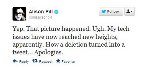 The Newsroom Alison Pill Topless Photo 'Accidental' Twitter
