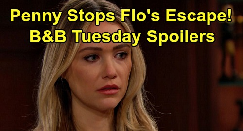 The Bold and the Beautiful Spoilers: Tuesday, April 21 - Penny Stops Flo's Escape - Can't Tell Wyatt Sally's Illness Is Fake