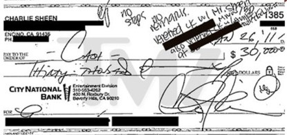 Proof That Charlie Sheen Wrote A $30,000 Check To Porn Star