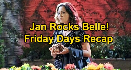 Days of Our Lives Spoilers: Friday, October 23 Recap - Jan Rocks Belle - Claire & Charlie Dinner Date - Philip Manipulates Sarah