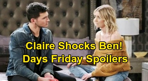 Days of Our Lives Spoilers: Friday, September 25 – Claire Shocking News for Ben - Sami Leaves for Italy, Final Nicole Showdown