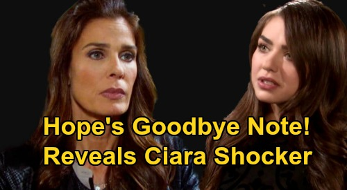 Days of Our Lives Spoilers: Hope's Goodbye Note Reveals Ciara Shocker - Jack & Jennifer's Unexpected Discovery