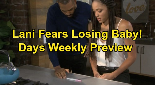 Days of Our Lives Spoilers Preview: Week of May 25 - Lani Pregnant, Fears Losing Baby - Steve Chases Kayla - Eric & Nicole Engaged