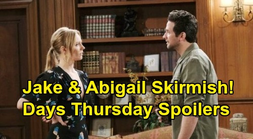 Days of Our Lives Spoilers: Thursday, October 1 – Kate Spies for Chad – Jake & Abigail Face Off – Abe Incriminates Lani