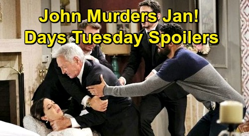 Days of Our Lives Spoilers: Tuesday, November 24 – John Murders Jan, Heather Lindell's Exit – Shawn & Belle Reunite