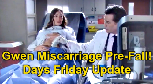 Days of Our Lives Spoilers Update: Friday, April 30 – Gwen's Miscarriage Before Staircase Fall – Roman Throws Jake Out