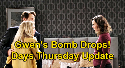 Days of Our Lives Spoilers Update: Thursday, January 21 – Gwen Stuns Jack & Jennifer – Anna & Tony Fear DiMera Empire at Risk