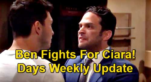 Days of Our Lives Spoilers Update: Week of March 22 – Theo Brings Ciara Flowers – Ben Fights for Wife –  Roman Goes For Kate