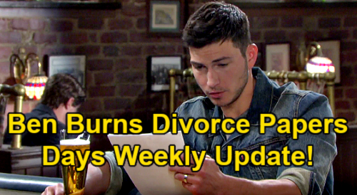 Days of Our Lives Spoilers Update: Week of May 17 – Ben Burns Divorce Papers at Cabin – Claire Rejected – Sami Outsmarts Kristen