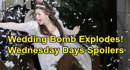 Days of Our Lives Spoilers: Wednesday, July 22 – Bomb Explodes After Ben & Ciara's Vows – Gabi Is Jake's Plus One – Claire's Lie