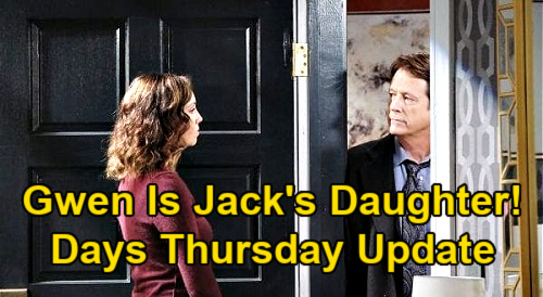 Days of Our Lives Spoilers: Thursday, January 21 Recap - Gwen Is Jack's Daughter - Kate Catches Jake & Gabi Kissing