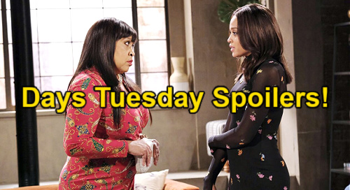 Days of Our Lives Spoilers: Tuesday, July 13 – Justin's Proposal Switch – Lani Cuts Ties with Paulina - Chanel Cries to Allie