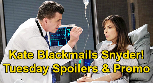 Days of Our Lives Spoilers: Tuesday, June 1 – Kate Blackmails Dr. Snyder – Gabi Strikes Back at Trash-Talking Lucas
