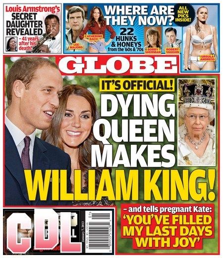 GLOBE: Kate Middleton's Pregnancy and Baby Cause Dying Queen Elizabeth To Make Prince William King – Official Decision! (Photo)