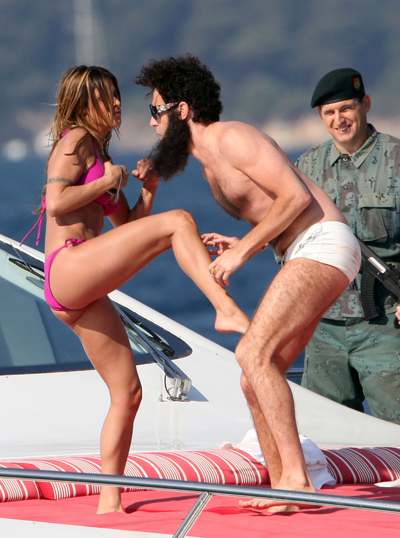 Sacha Baron Cohen Throws Elisabetta Canalis' Body Off A Boat