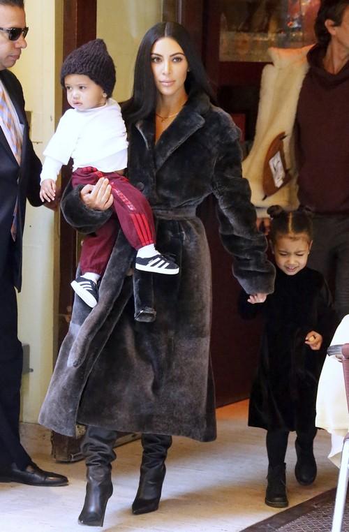 Kim Kardashian Parades Children on Shopping Trip: North West Still Looks Grumpy