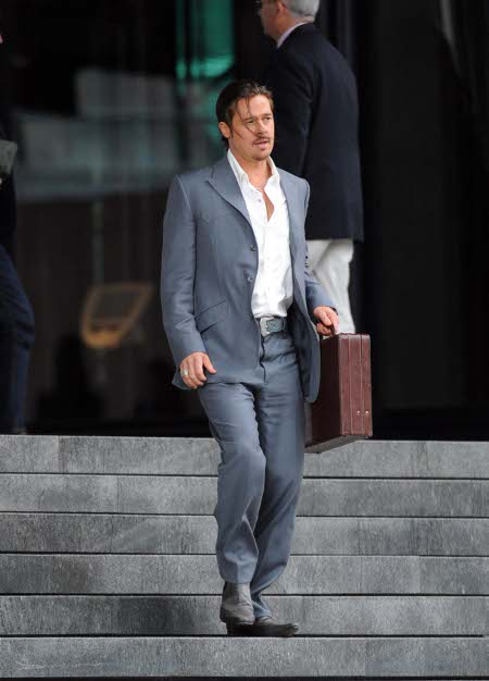 Brad Pitt Gets Dangerous on the Set of 'The Counselor' in London (Photos)