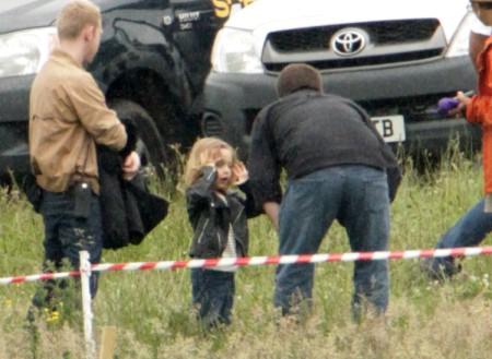 Knox And Vivienne Jolie-Pitt Visit Angelina Jolie On Maleficent Set (Photos) 0627