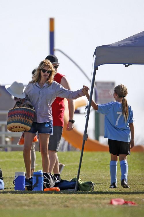 Julia Roberts Comforts Daughter At Soccer Game In Malibu