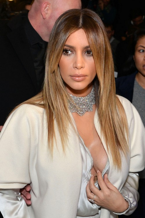 Kim Kardashian Shows Some Cleavage In Paris Celeb Dirty
