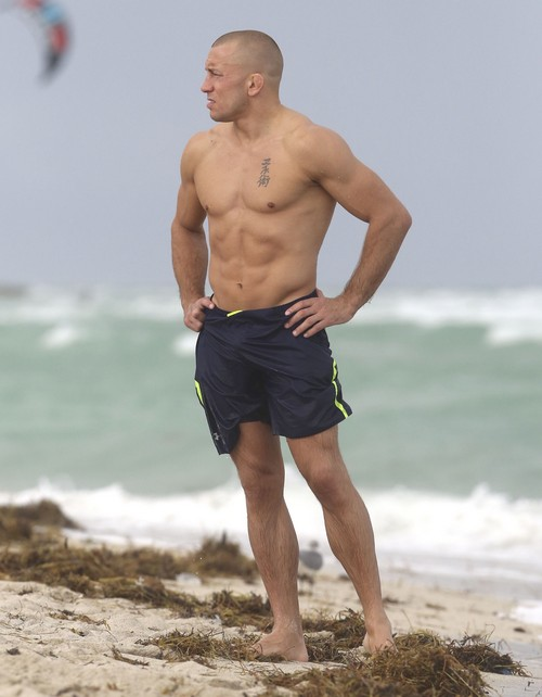 Georges St Pierre Relaxes At Miami Beach With Mystery