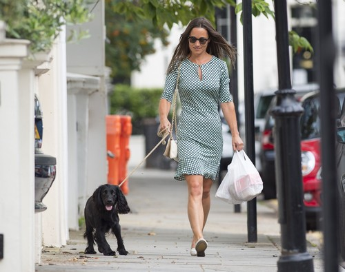 52129302 Newly engaged Pippa Middleton is spotted taking her dog for a walk in Fulham, London on July 21, 2016. The sister of the Duchess of Cambridge, who announced her engagement to James Matthews earlier this week, was seen carrying a few plastic bags. FameFlynet, Inc - Beverly Hills, CA, USA - +1 (310) 505-9876 RESTRICTIONS APPLY: USA/CHINA ONLY