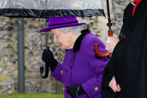 "52283060 Queen Elizabeth II arrives at the Church of St Mary in Flitcham, Norfolk on January 15, 2017. The Queen has made her second public appearance of 2017 after ill-health over the holiday season. Buckingham Palace said she was ""recuperating"" from a heavy cold. FameFlynet, Inc - Beverly Hills, CA, USA - +1 (310) 505-9876 RESTRICTIONS APPLY: USA/CHINA ONLY"